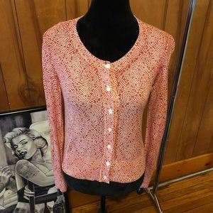 Banana republic polka dot orange button cardigan